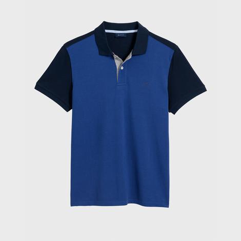 Gant Erkek Mavi Regular Fit Color Block Piqué Rugger Polo