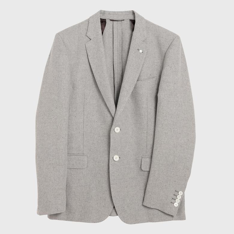 Gant Erkek Gri Keten Blazer Ceket