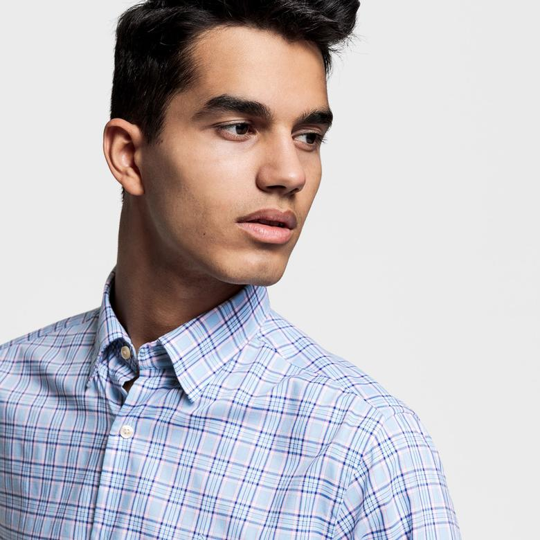 Gant Erkek Mavi Regular Fit Tech Prep Oxford Plaid Gömlek