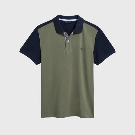 Gant Erkek Yeşil Regular Fit Color Block Piqué Rugger Polo