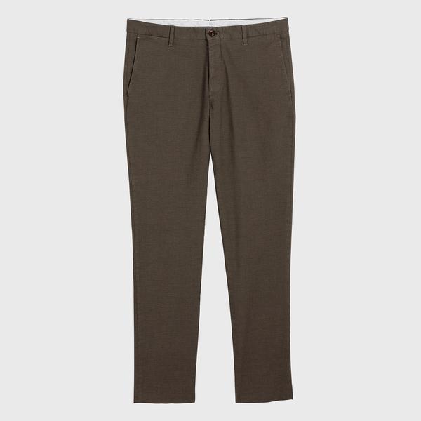 GANT Erkek Kahverengi Slim Fit Signature Weave Baskılı Pantolon