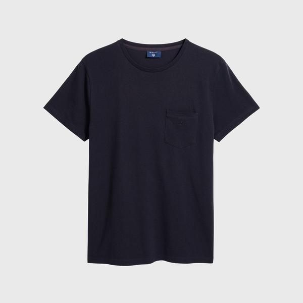 Gant Erkek Mavi Regular Fit Piqué T-Shirt