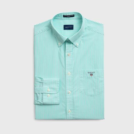 GANT Erkek Yeşil Regular Fit Broadcloth Banker Çizgili Gömlek