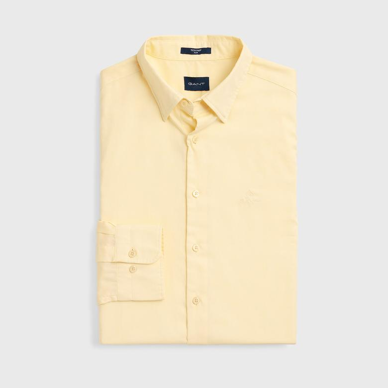 Gant Erkek Sarı Slim Fit Tech Oxford Gömlek
