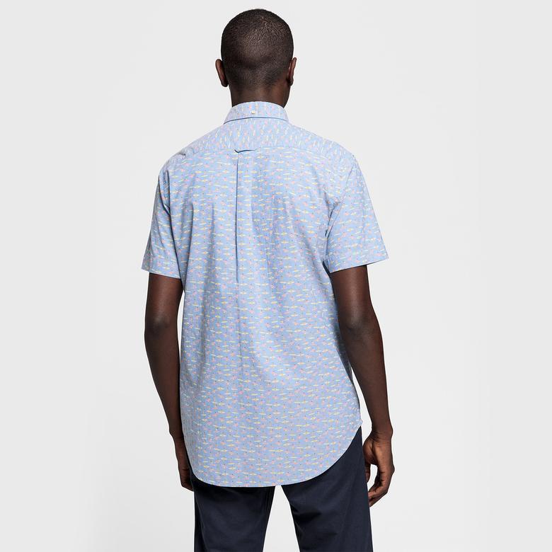 Gant Erkek Regular Fit Sörfçü Baskılı Açık Mavi Gömlek