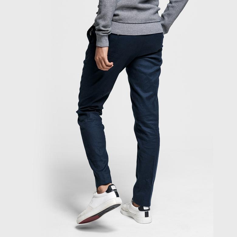 Gant Erkek Slim Fit Lacivert Keten Pantolon