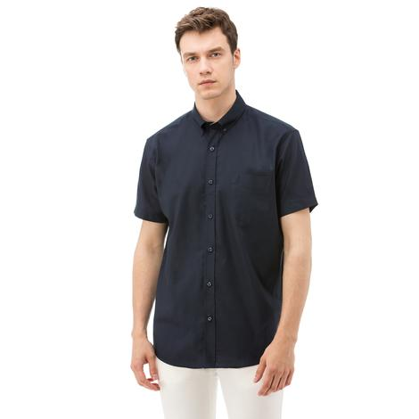 Nautica Erkek Lacivert Kısa Kollu Cepli Oxford Gömlek