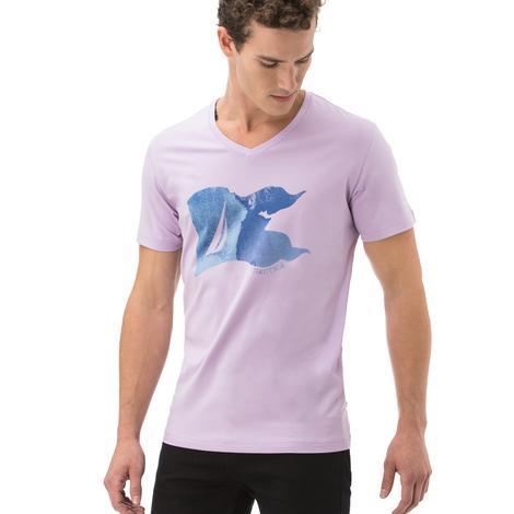 Nautica Erkek Lila Kısa Kollu Slim Fit T-Shirt