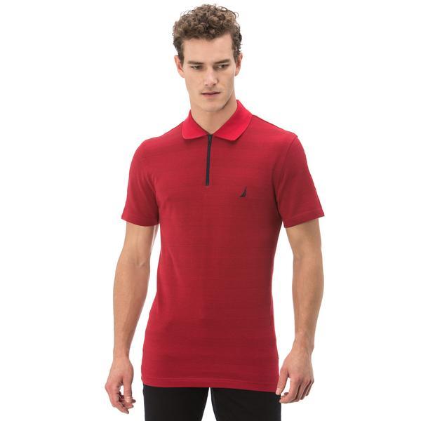 Nautica Erkek Kırmızı Çizgili Fermuarlı Kısa Kollu Slim Fit Polo