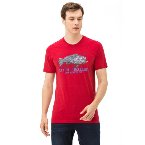 Nautica Erkek Kırmızı Bisiklet Yaka Kısa Kollu Slim Fit T-Shirt