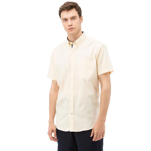 Nautica Erkek Sarı Kısa Kollu Cepli Oxford Gömlek