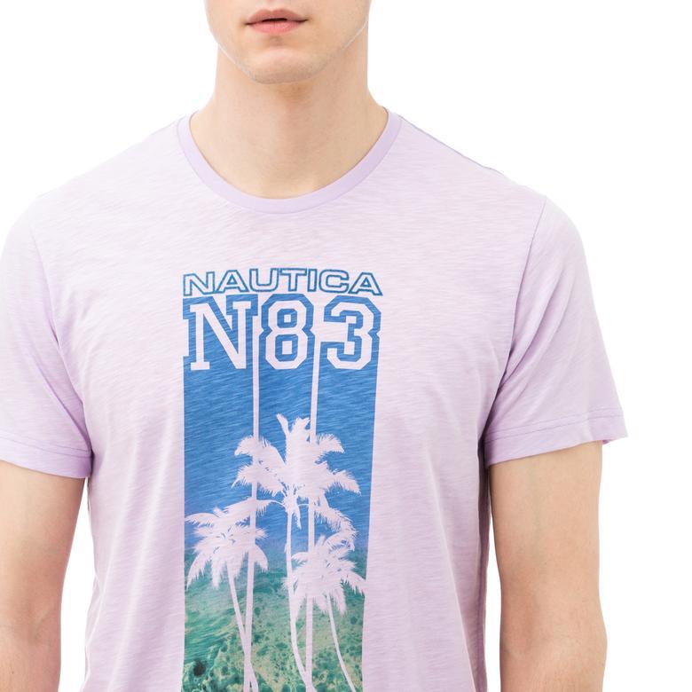 Nautica Erkek Lila Bisiklet Yaka Kısa Kollu Slim Fit T-Shirt