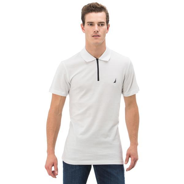 Nautica Erkek Beyaz Çizgili Fermuarlı Kısa Kollu Slim Fit Polo