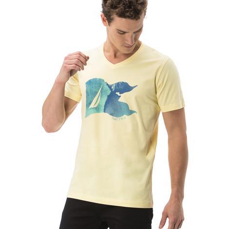 Nautica Erkek Sarı Kısa Kollu Slim Fit T-Shirt