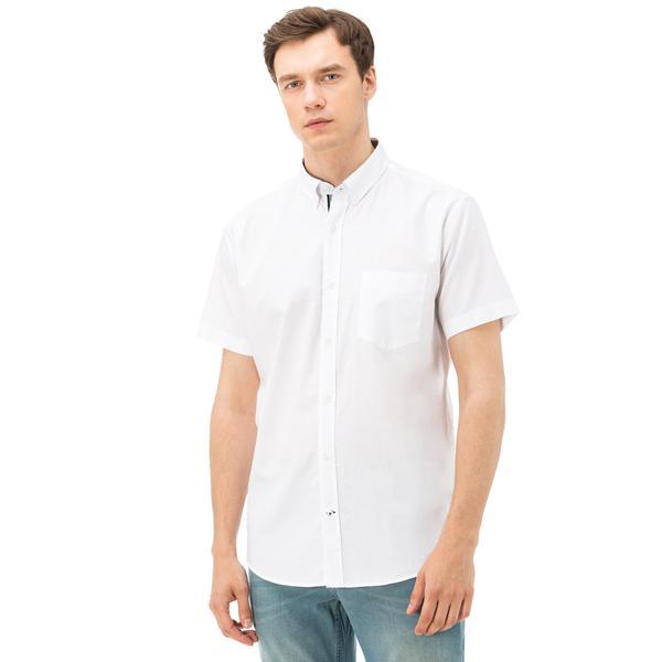 Nautica Erkek Beyaz Kısa Kollu Cepli Oxford Gömlek