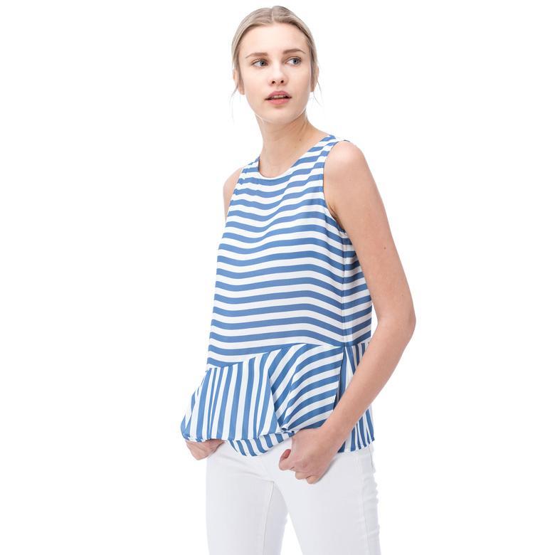 Nautica Kadın Mavi Çizgili Kolsuz T-Shırt