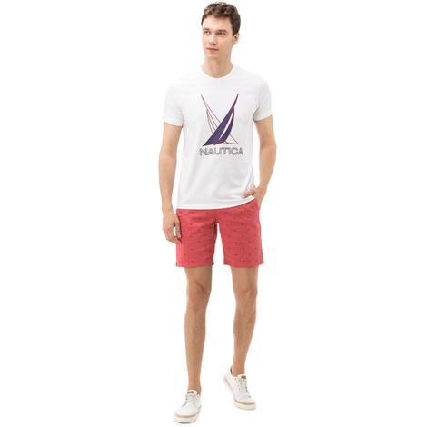 Nautica Erkek Kırmızı Baskılı Slim Fit Bermuda
