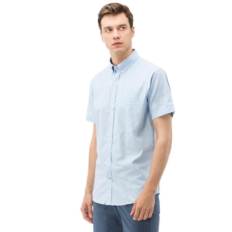 Nautica Erkek Mavi Kısa Kollu Cepli Oxford Gömlek