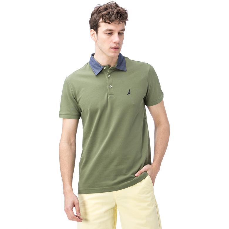 Nautica Erkek Yeşil Kısa Kollu Chambrey Yaka Slim Fit Polo