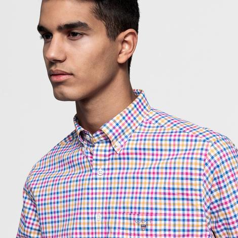 Gant Erkek Mavi Regular Fit Broadcloth Three-Color Gingham Gömlek