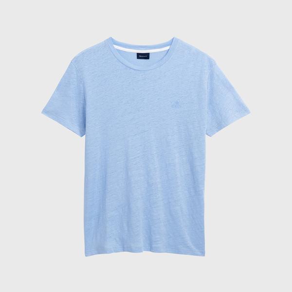 Gant Erkek Açık Mavi Regular Fit Keten T-Shirt