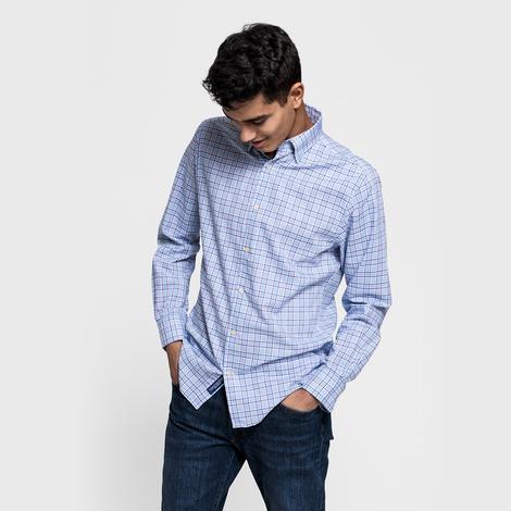 Gant Erkek Mavi Regular Fit Tech Prep Oxford Plaid Gömlek