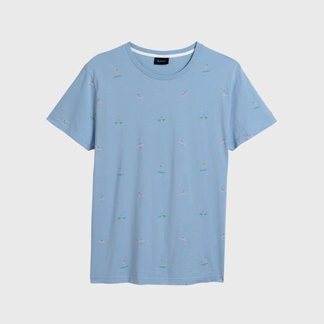 Gant Erkek Açık Mavi Regular Fit Surfer T-Shirt