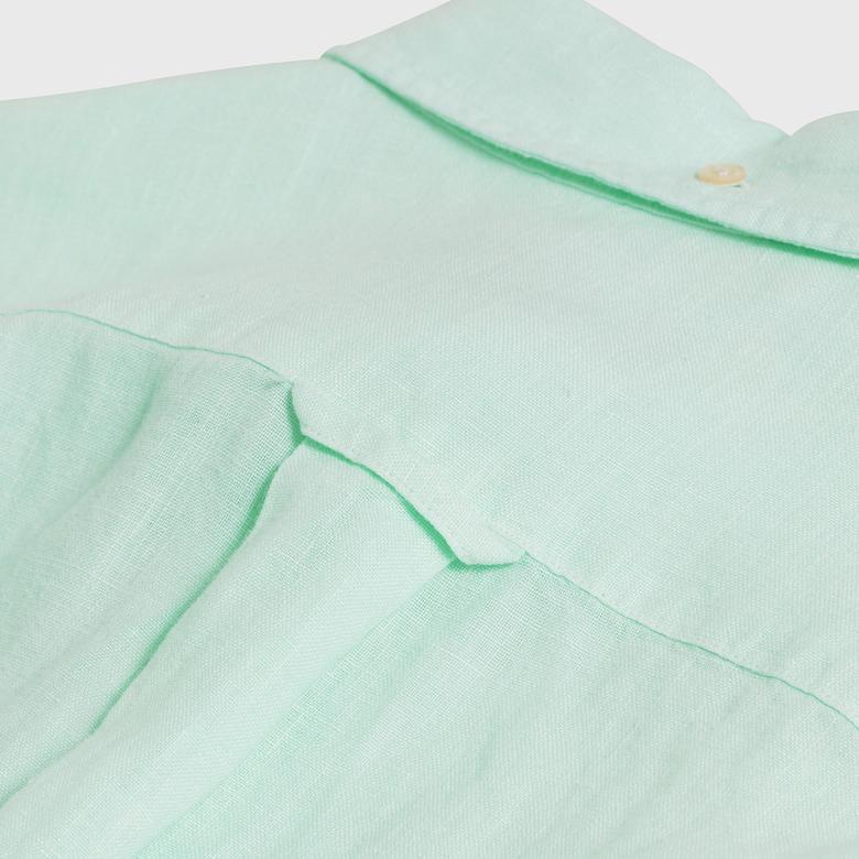 Gant Erkek Yeşil Slim Fit Dyed Keten Gömlek