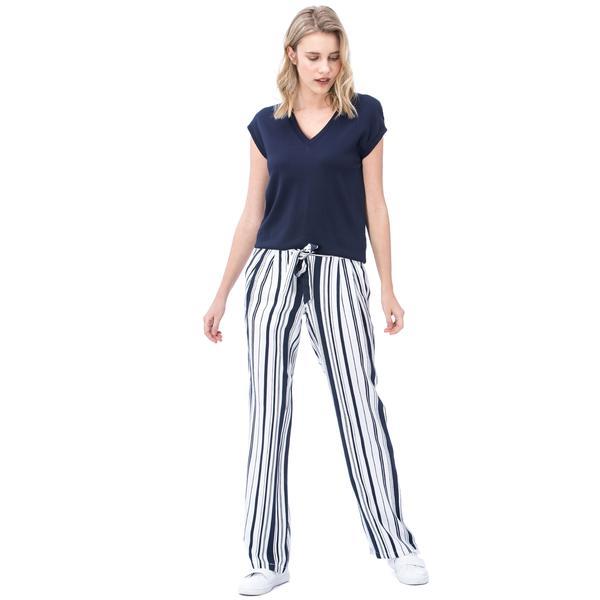 Nautica Kadın Beyaz Çizgili Pantolon