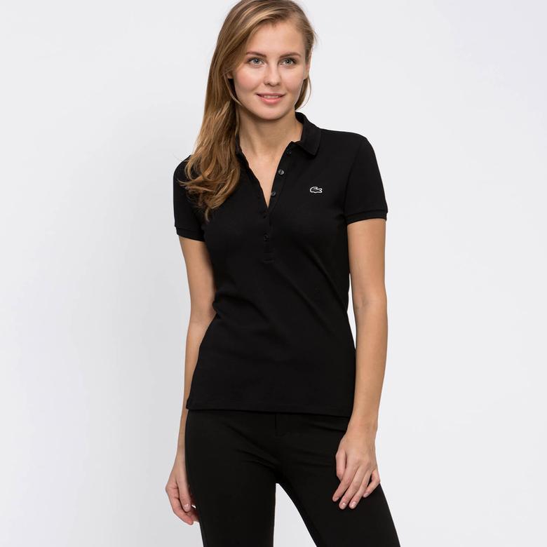 Lacoste Kadın Siyah Kısa Kollu Slim Fit Polo