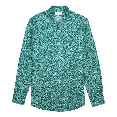 Bluemint Erkek Yeşil Desenli Keten Gömlek