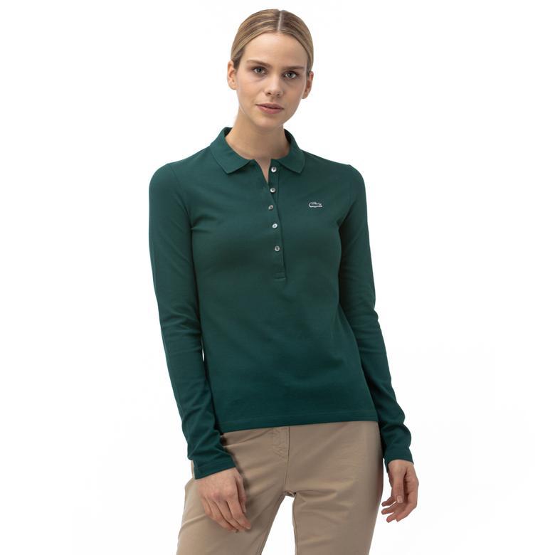 Lacoste Yeşil Slim Fit Kadın Uzun Kollu Polo