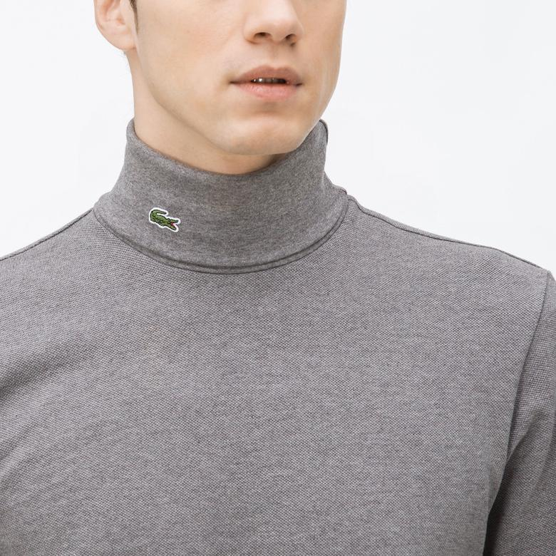 Lacoste Erkek Gri Uzun Kollu Boğazlı T-Shirt