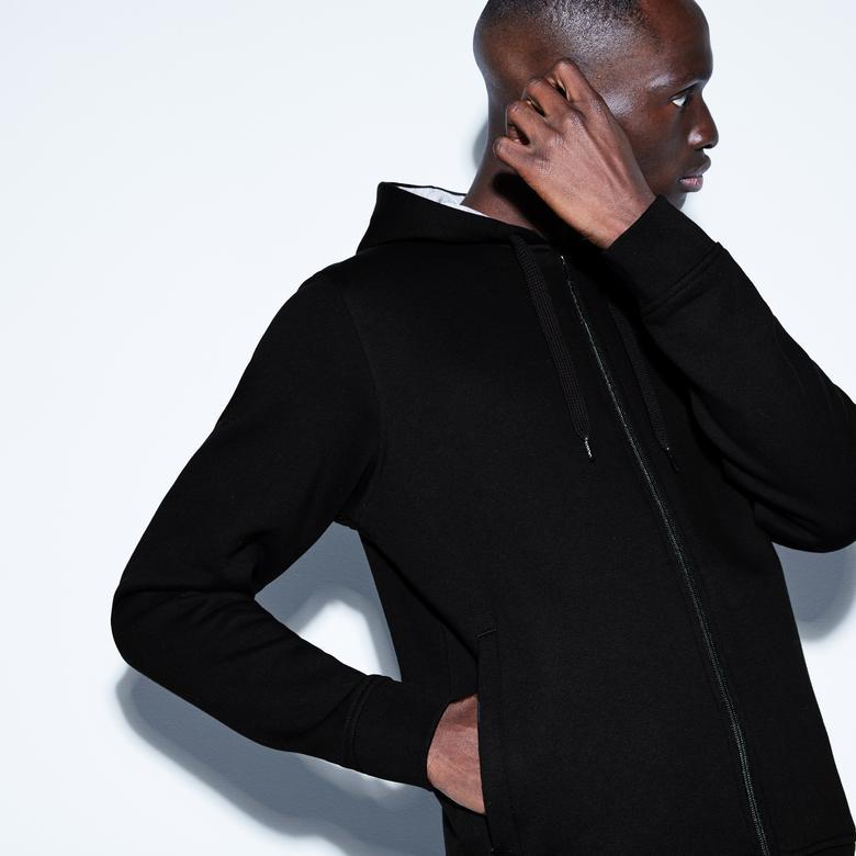 Lacoste Motion Erkek Kapüşonlu Siyah Sweatshirt