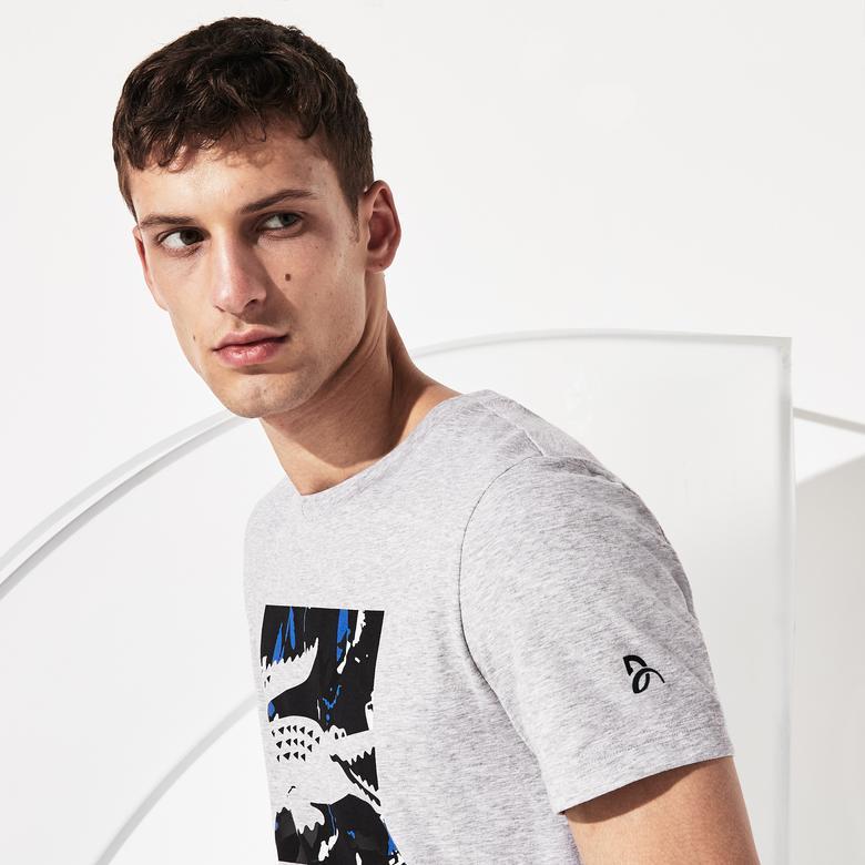 Lacoste Erkek Baskılı Gri T-Shirt