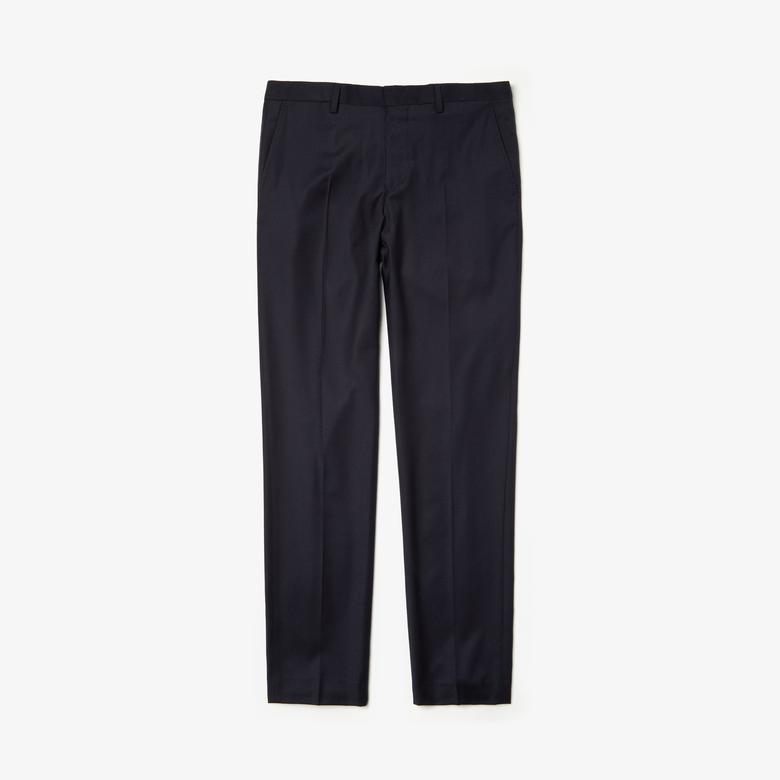 Lacoste Erkek Slim Fit Streç Yünlü Lacivert Chino Pantolon
