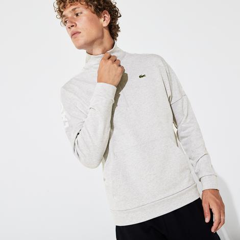 Lacoste Sport Erkek Baskılı Dik Yaka Açık Gri Sweatshirt