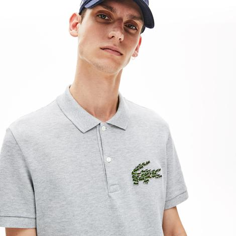 Lacoste Croco Magic Erkek Regular Fit Gri Kısa Kollu Polo