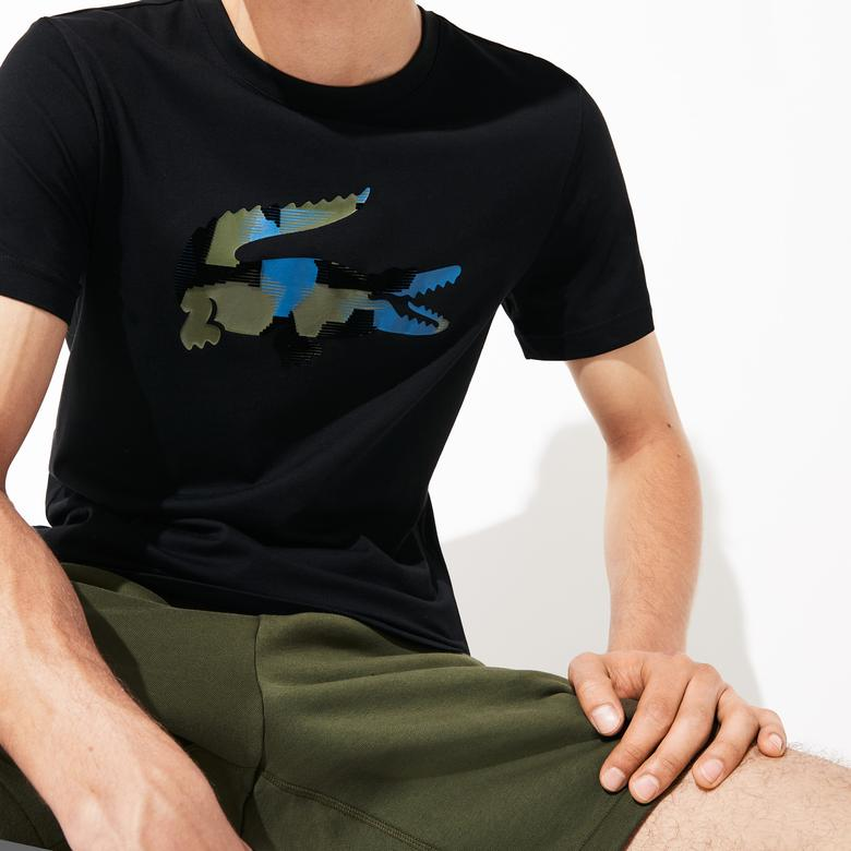 Lacoste Sport Erkek Timsah Baskılı Siyah T-Shirt