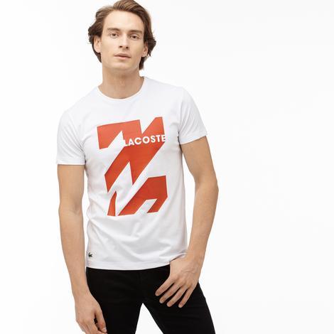 Lacoste Sport Erkek Baskılı Beyaz T-Shirt