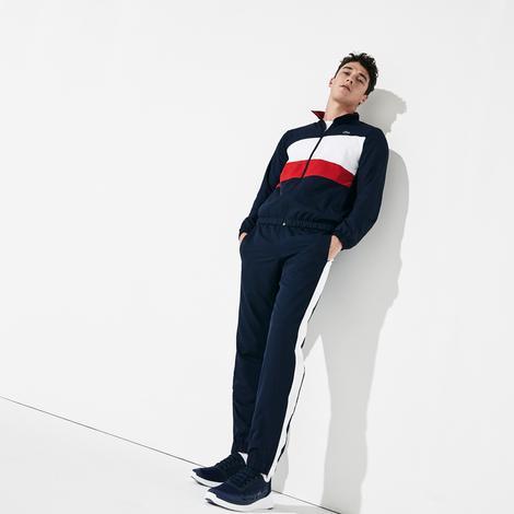 Lacoste Erkek Blok Desenli Dik Yaka Uzun Kollu Lacivert - Kırmızı Eşofman Takımı