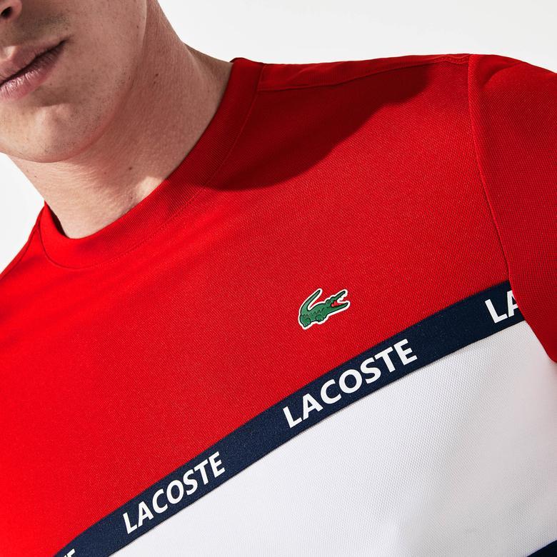Lacoste Sport Erkek Blok Desenli Lacoste Baskılı Kırmızı T-Shirt