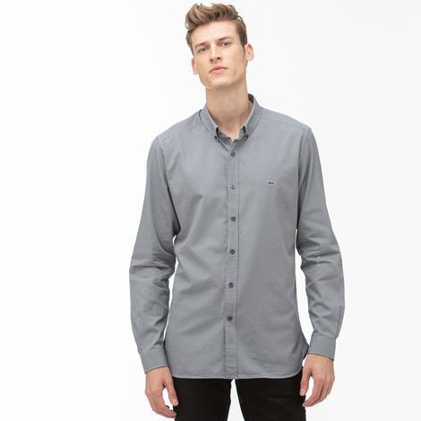 Lacoste Erkek Slim Fit Gri Gömlek
