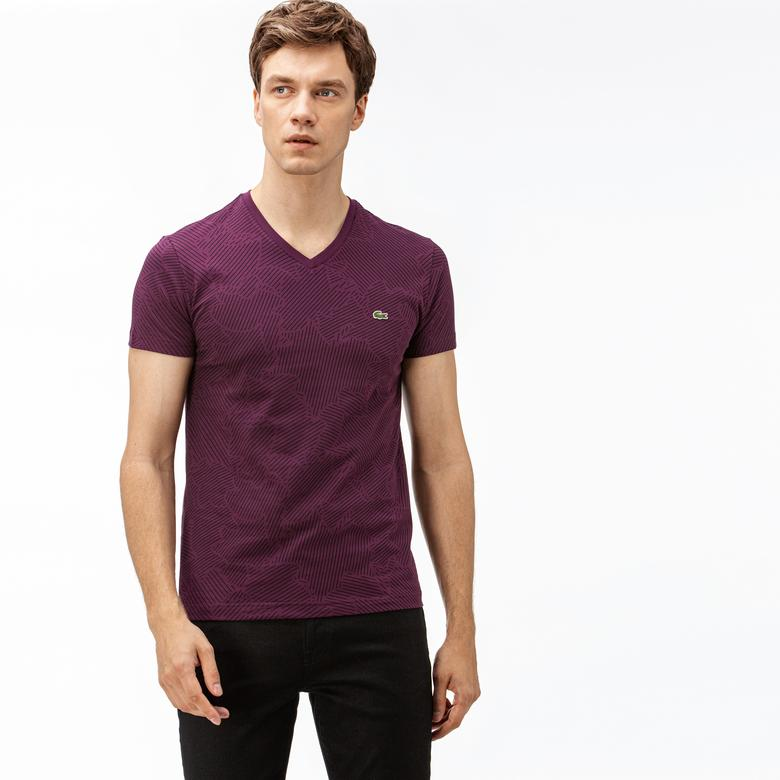 Lacoste Erkek Desenli V Yaka Mor T-Shirt
