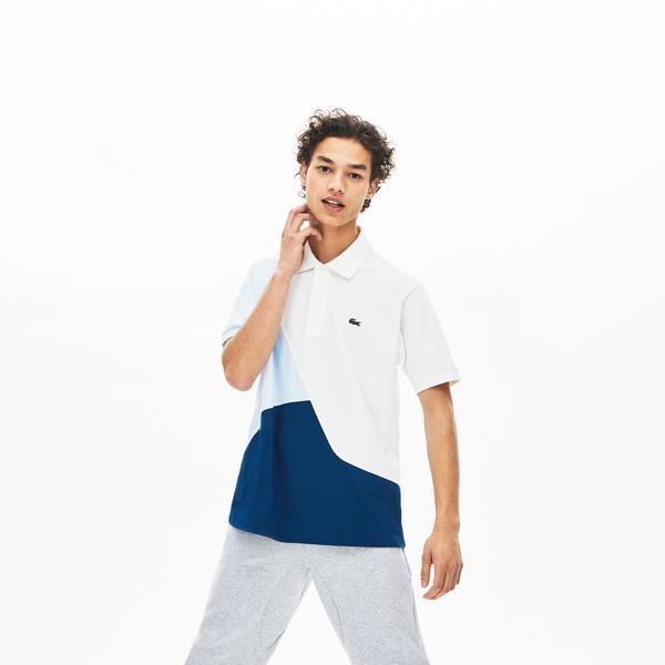 Lacoste Erkek Klasik Fit Blok Desenli Mavi Polo