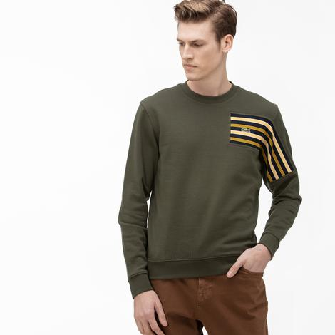 Lacoste Erkek Relax Fit Bisiklet Yaka Desenli Yeşil Sweatshirt