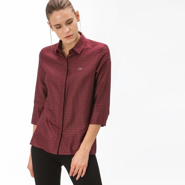 Lacoste Kadın Çizgili Bordo Gömlek
