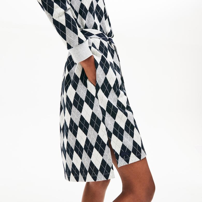 Lacoste Kadın Baklava Desenli Gri Elbise