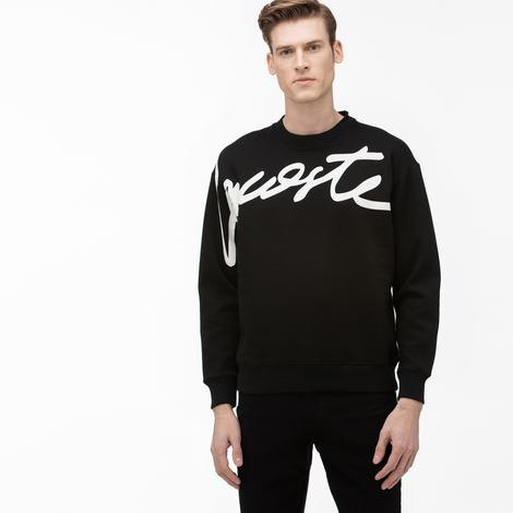 Lacoste L!VE Unisex Loose Fit Baskılı Bisiklet Yaka Siyah Sweatshirt