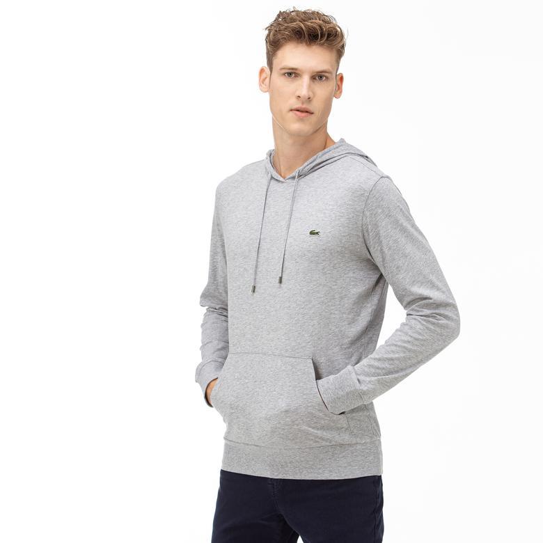 Lacoste Erkek Regular Fit Kapüşonlu Gri Sweatshirt